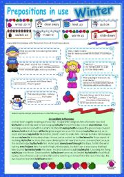 Prepositions in use (5) - Winter (editable with key)