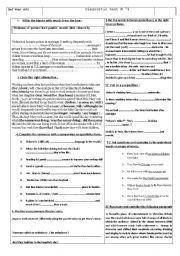 English Worksheet: Follow-up activities ( Diagnostic test )  for 2nd year students
