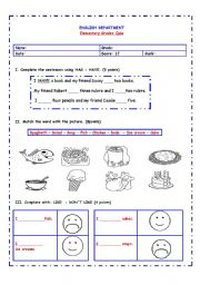 English Worksheet: HAS / HAVE - FOOD VOCABULARY - LIKE /DON�T LIKE QUIZ