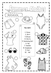 English Worksheet Summer Clothes