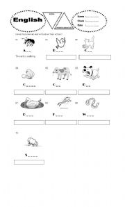 English Worksheets: animals� action