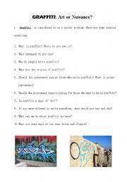 English Worksheet: Social Problems:Graffiti