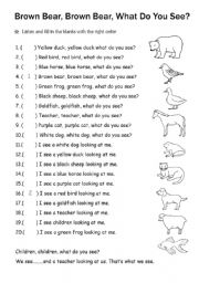 Brown Bear Brown Bear What Do You See - ESL worksheet by ...