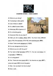 English Worksheet: Video Games Dialogue