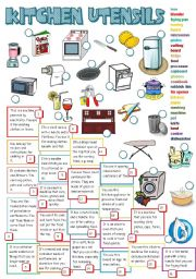 English Worksheet: KITCHEN UTENSILS (B&W + KEY)