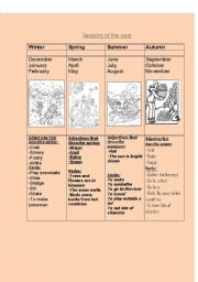 English Worksheet: Seasons of the year, oral and written activities