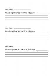 English worksheets: Video Response Sentence Frame