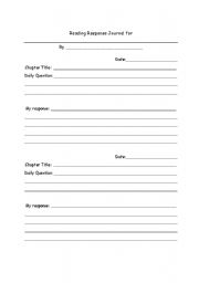 reading response journal i use this as a response to each chapter that ...