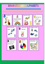 English worksheet: ALPHABETS(2)- BRAIN STORMING