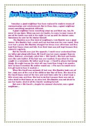 English Worksheet: Are Neighbours Necessary?