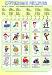 English Worksheets: Expressing Abilities - PART I (Can - Grammar Explication + Pictionary + Short Exercise)