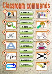 English Worksheet: Classroom commands (2 versions + answer key)