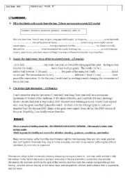 English Worksheets: 2nd year Remedial work
