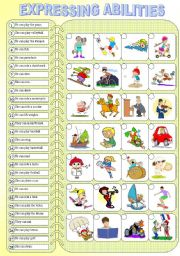 English Worksheet: Expressing Abilities - PART II - Exercises