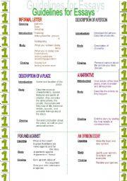 English Worksheet: Guidelines for essays (1/2)