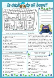 English Worksheet: IS ANYBODY AT HOME?