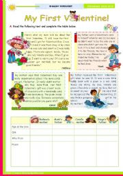 English Worksheets: My First Valentine  -  Reading Comprehension