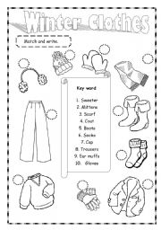 Vocabulary worksheets > Clothes > Winter clothes