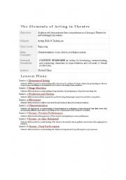 Printables Drama Terms Worksheet english teaching worksheets drama plan for elements of acting in english