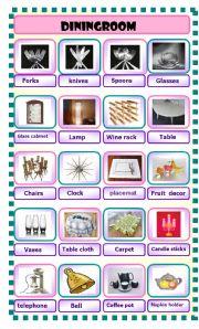 English Worksheet: diningroom pictionary