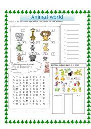 English Worksheet: animal world