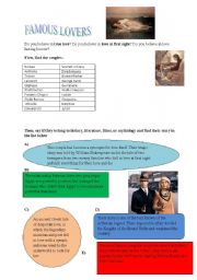 English Worksheets: famous lovers