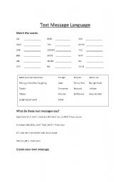 English Worksheets: Text message language