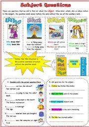 English Worksheets: How to ask subject questions