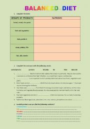 ESL Worksheets for adults: a balanced diet