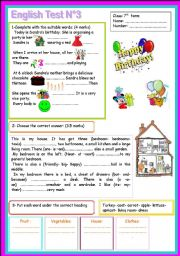 English Worksheet: 7th form mid term test