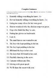 English Worksheets: Complete Sentences