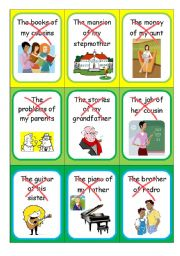 English Worksheet: The Possessive Case - Speaking cards I