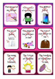 English Worksheet: Possessive case - Speaking cards III