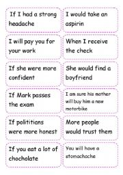 English Worksheet: card game conditional 1 and 2