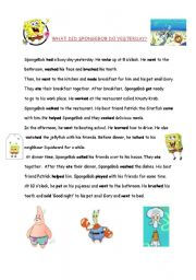 English Worksheets: What did SpongeBob do yesterday?