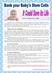 English Worksheets: Bank your baby�s stem cells - it could save its life (with key)