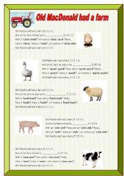 English Worksheets: Song: Old MacDonald had a farm