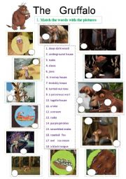 English Worksheet: The Gruffalo - animation ws - 4 pages - 8 exercises - editable