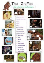 English Worksheets: The Gruffalo - animation ws - 4 pages - 8 exercises - editable