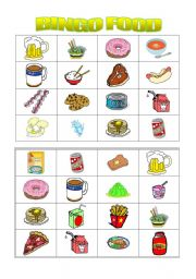 English Worksheet: bingo food ( 2nd part)