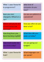 English Worksheets: Cards of questions