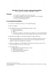 English Worksheets: Introduce Yourself: Target Language Introduction
