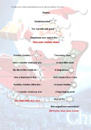 English Worksheet: Christmas Poems