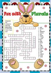 English Worksheets: PLurals - Regular and Irregular - Elementary - 2 pgs - key included