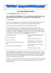 English Worksheets: Tiger Moms - The Right Way to Parent?  Reading + Questions + Writing