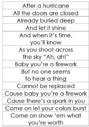 English Worksheets: Fireworks - Katy Perry