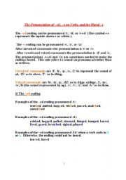 English Worksheet: The Pronunciation of �ed , �s on Verbs, and the Plural �s