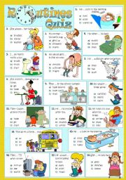 English Worksheet: ROUTINES - Quiz