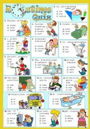 English Worksheet: ROUTINES - Quiz