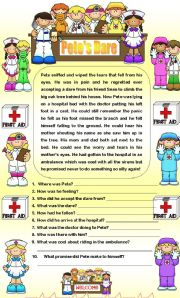 English Worksheets: Comprehension - Pete�s Dare